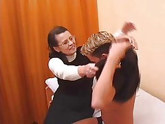 Hairy Granny in stockings fucked by schoolboy