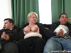 Triune orgy with granny