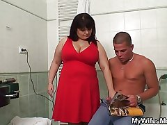 Huge titted materfamilias in law pleases him