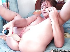 British grannies Gladness and Becky adore anal play