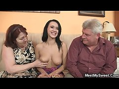 On the level girl is seduceed by granny together with fucked by dad