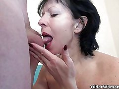 Grandma loves a affectionate cum saddle with on her old body