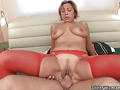Lustful granny sucks cock coupled with gets fucked