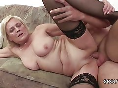 Grandson Coax Blonde Granny to Fellow-feeling a amour and Cum