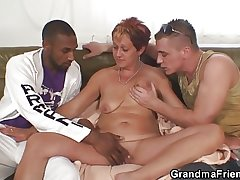 Interracial trio orgy just about granny