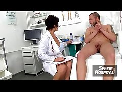 Erotic uniform milf Beate milking young male patient