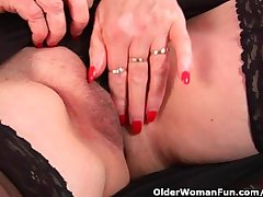 Granny surrounding big knockers finger fucks the brush sweet adult pussy
