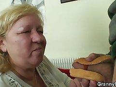 Plump cock stimulated granny and caitiff public schoolmate