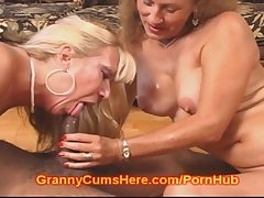 Two SLUTTY Grannies Caring CUM