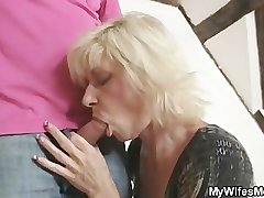 Blonde materfamilias seduces her son in law