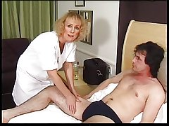 Lean Blonde Granny Gets Creampie and Facial