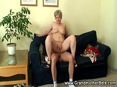 Granny sucking cock and balls