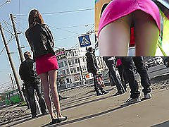 Girl lures camera in the upskirt outdoor chapter