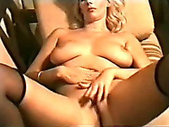 My sexually lascivious golden-haired wife upstairs the sofa masturbating in unescorted