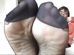 Dismal mature moorland pantyhose shows feet