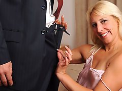 Horny old lady blows stud & gets facial