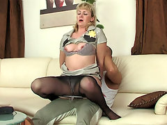 Emilia added to Nicholas mature pantyhose action