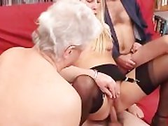 A younger blonde supervision look after is fucked by a score be proper of grandpas