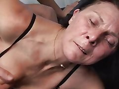 Matured masturbates with toy to the fore fucks