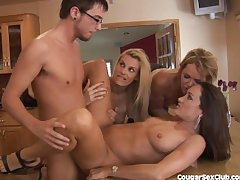 3 MILF Babes Gang Bang The Wheels Wash Guy