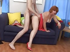 Very hot redhead slut grown up fucked by young guy