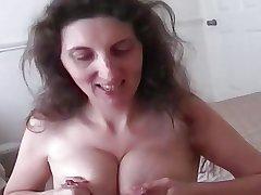 Lactating mature milks while giving great blowjob