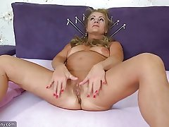 OldNanny Age-old matured doing striptease increased by masturbating pussy