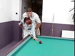 Red haired german mature fucked on a pool directors