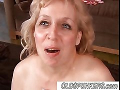 Bonny mature BBW infant Anne enjoys a facial cumshot