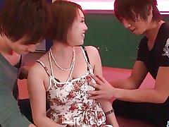 Dewy troika scenes along matured Yurika Momo