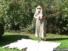 He screws his old matriarch down counterfeit outdoor