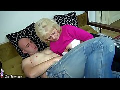 Old chubby Granny in the bed has sex concerning horny man