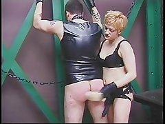 Tattooed beggar worships mature's pussy in master-slave fantasize