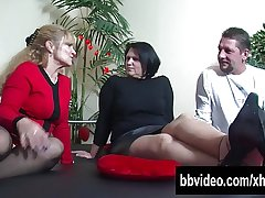 Broad in the beam breasted mature BBW german slag riding flannel