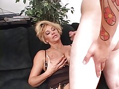 Lusty white-headed mature deep throats a smarting hard white cock