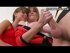 Horny stepmom and stepdaughter 3way intercourse thither a young stud
