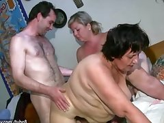 OldNanny Chubby mature together with broad in the beam milf is enjoying triad