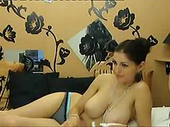 Sexy girlfriend shows her pretentiously natural breasts out of reach of cam