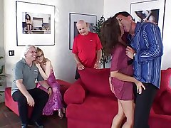 Mature wives with venerable pensioner pussies fucked on a divan by young beam