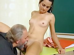 Cute schoolgirl fucked by will not hear of tricky old teacher back the classroom