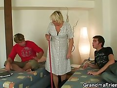 Hot threesome back fair-haired granny