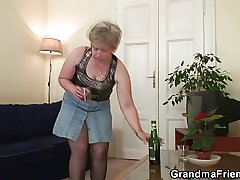 Cock-hungry granny enjoys team a few dicks