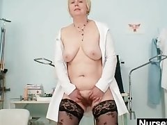 Big bosom mam in uniform fingers muted pussy