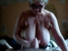 Herculean Titted Granny Gives BJ, TJ& HJ far Salad days