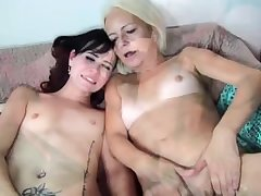 Very old granny woman with the addition of young horny girl