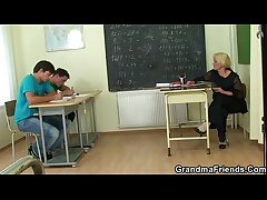 Duo sweltering pupils bang old teacher