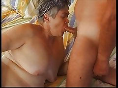 Hairy Big Granny in Stockings Fucks
