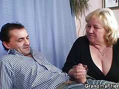 Two dudes try fun with busty flaxen-haired grandma
