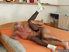 Blonde grandma moorland stockings fucks