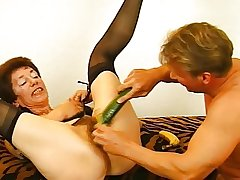 Hairy Granny in Stockings Toys with an increment of Fucks